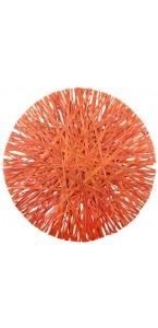 Lot de 4 sets de table en raphia orange D 34 cm