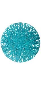 Lot de 4 sets de table en raphia turquoise D 34 cm