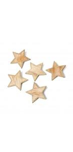 Lot de 5 étoiles bois cérusé cuivre pailleté 6 cm