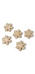 Lot de 5 Flocons bois cérusé cuivre pailleté 6 cm
