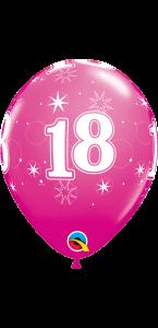 Lot de 6 ballons anniversaire Etoile 18 ans roses en latex 27 cm