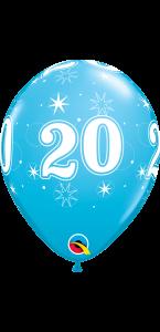 Lot de 6 ballons anniversaire Etoile 20 ans bleus en latex 27 cm