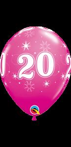 Lot de 6 ballons anniversaire Etoile 20 ans roses en latex 27 cm