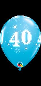 Lot de 6 ballons anniversaire Etoile 40 ans bleus en latex 27 cm