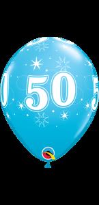 Lot de 6 ballons anniversaire Etoile 50 ans bleus en latex 27 cm