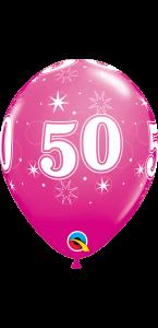 Lot de 6 ballons anniversaire Etoile 50 ans rosesen latex 27 cm