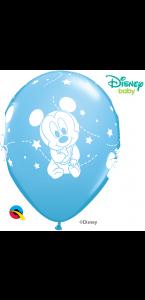 Lot de 6 ballons Bleu bébé Mickey en latex 30 cm