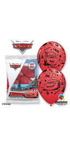 Lot de 6 ballons Cars en latex rouge 30 cm