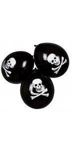 Lot de 6 ballons crâne de pirate noirs en latex