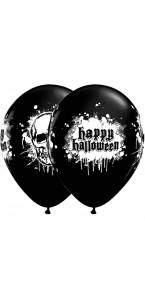 Lot de 6 Ballons halloween tête de mort noir en latex