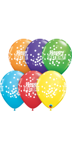 Lot de 6 ballons Happy birthday multicolores à pois en latex 27 cm