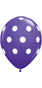 Lot de 6 ballons Polka Dots en latex violet 27,5 cm