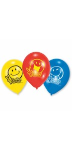 Lot de 6 ballons Smiley Comic en latex