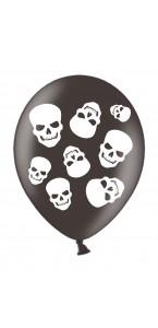 Lot de 6 ballons Tête de mort en latex Halloween 28 cm