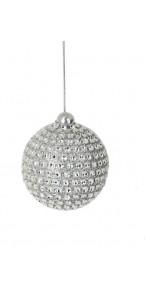 Lot de 6 boules décorées argent D 6 cm
