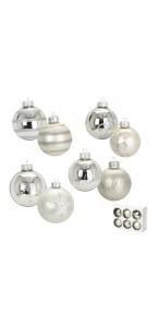 Lot de 6 boules en verre argent 4 modèles assortis