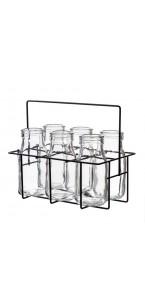 Lot de 6 Bouteilles en verre  transparent dans panier