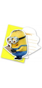 Lot de 6 carte invitation Lovely Minions avec enveloppes