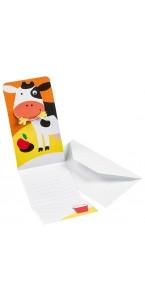 Lot de 6 cartes d'invitation Ferme avec enveloppe