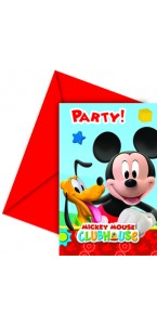 Lot de 6 cartes d'invitation Mickey