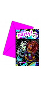 Lot de 6 cartes d'invitation  Monster High