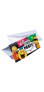 Lot de 6 cartes d'invitation Smiley Comic avec enveloppe