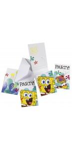 Lot de 6 cartes invitation Bob l'éponge avec enveloppe