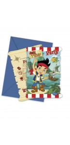Lot de 6 cartes invitation Jake le pirate avec enveloppe