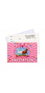 Lot de 6 cartes invitation Mon cheval