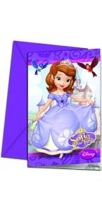 Lot de 6 cartes invitation Princesse Sofia avec enveloppe