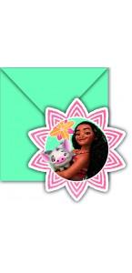 Lot de 6 cartes invitation Vaiana avec enveloppes