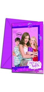 Lot de 6 cartes invitation Violetta avec enveloppe