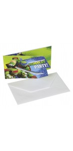 Lot de 6 cartes invités Tortue ninja