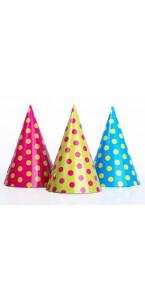 Lot de 6 chapeaux à pois couleurs assorties