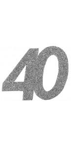 Lot de 6 confettis 40 ans argent 6 x 5 cm