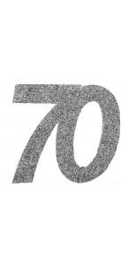 Lot de 6 confettis 70 ans argent 6 x 5 cm