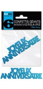 Lot de 6 confettis géants Joyeux anniversaire bleu océan pailleté
