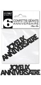Lot de 6 confettis géants Joyeux anniversaire noir pur pailleté