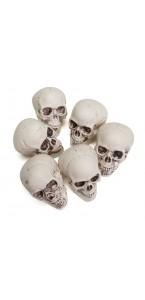 Lot de 6 Crânes moyenne taille Halloween 4  x 3,5 x 5,5 cm