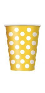 Lot de 6 gobelets jetables Anniversaire jaune soleil 25 cl