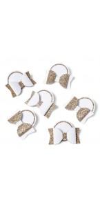 Lot de 6 marque-place nœuds papillon cuivre 4 cm