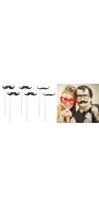 Lot de 6 moustaches sur pic pour photobooth