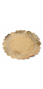 Lot de 6 napperons dentelle papier or D 21,5 cm