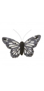 Lot de 6 Papillons pailletés noirs longueur 8 cm