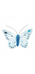 Lot de 6 Papillons pailletés turquoise longueur 8 cm