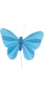 Lot de 6 papillons turquoise sur tige 8,5 x 5 cm