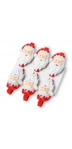 Lot de 6 pinces Père Noël  4,5 cm