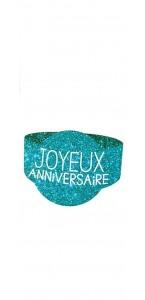Lot de 6 ronds de serviette Joyeux Anniversaire bleu océan
