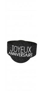 Lot de 6 ronds de serviette Joyeux Anniversaire noir pur