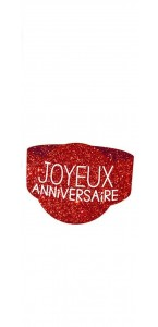 Lot de 6 ronds de serviette Joyeux Anniversaire rouge passion